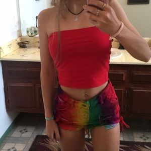 Rainbow ripped high waisted shorts